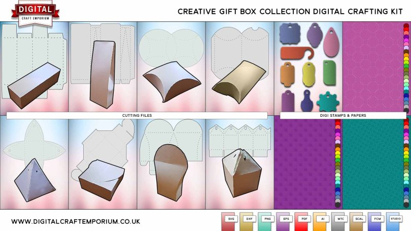Creative Gift Boxes SVG Cutting File Collection Preview