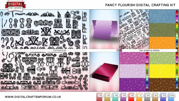 Fancy Flourish SVG Cutting File Crafting Kit Preview