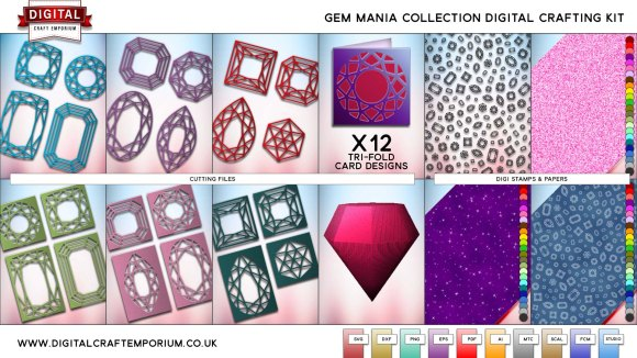Gem Mania SVG Cutting File Collection Preview