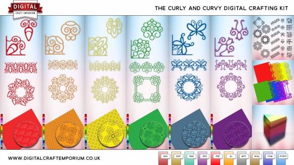 Curves and Curls SVG Cutting File Collection Preview