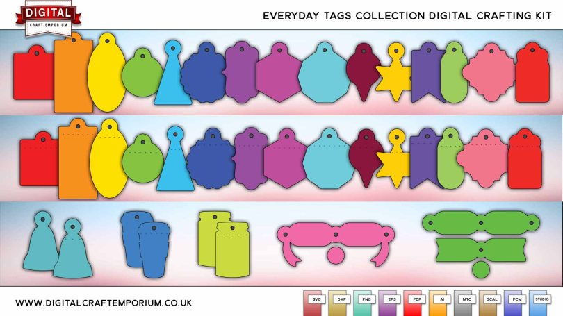 Everyday Tags SVG Cutting File Collection Preview