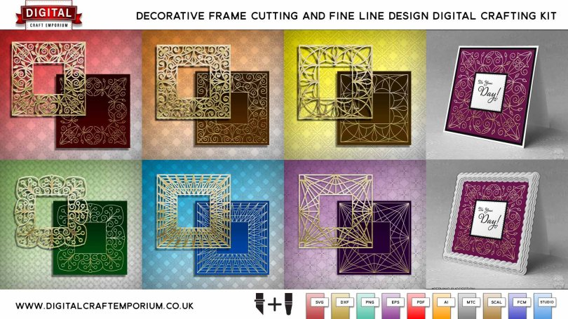 Decorative Frame SVG Cutting File and Fine Line Design Collection