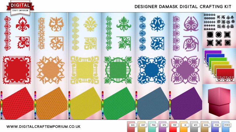 Designer Damask SVG Cutting File Collection Preview