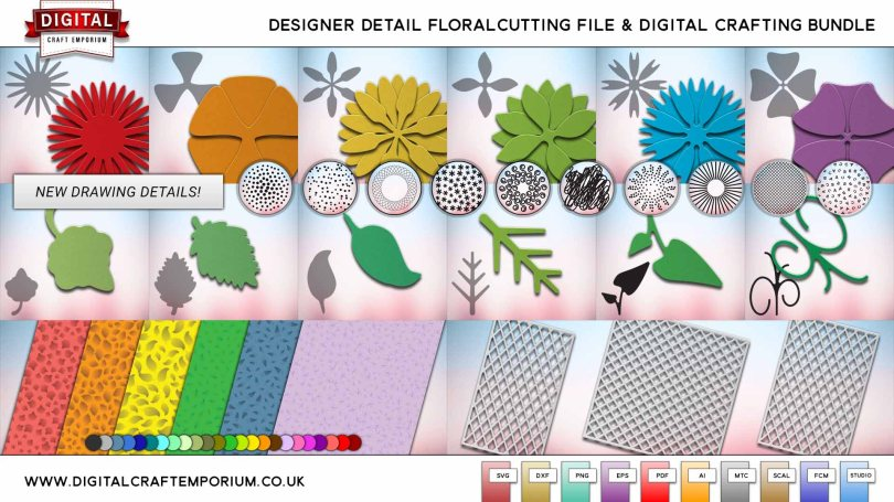 Designer Detail Floral SVG Cutting and Drawing File Collection