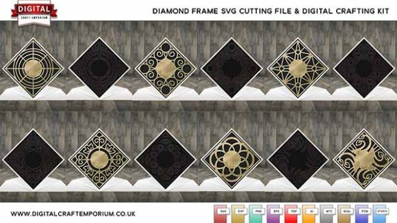 Diamond Top Card SVG Cutting File Collection Preview