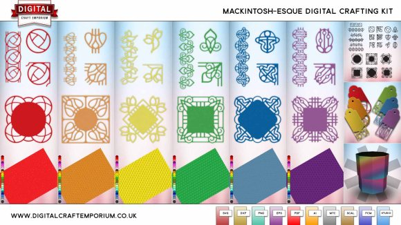 SVG Cutting File Digital Craft Emporium Mackintosh-Esque Cutting File Collection Preview Low Res
