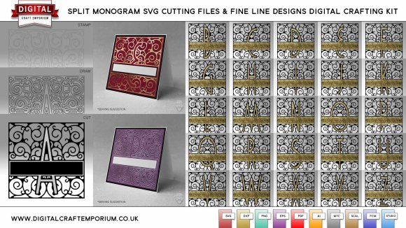 Split Letter Monogram SVG Cutting File Set and Fine Line Designs