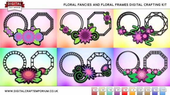 Floral Frames SVG Cutting Files Bundle