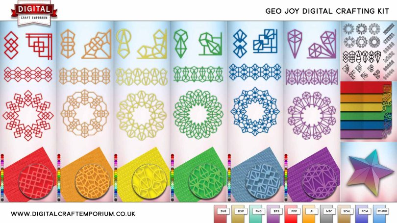 Geo Collection SVG Cutting File Set Preview Low Res