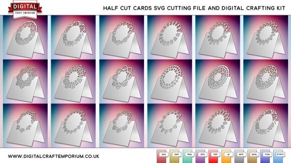 Half Cut Card SVG Cutting File Set Preview