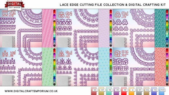 Lace Edge SVG Cutting File Collection and Digital Crafting Kit