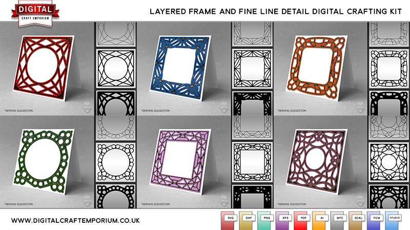 Layered Frame SVG Cutting File and Fine Line Design Collection