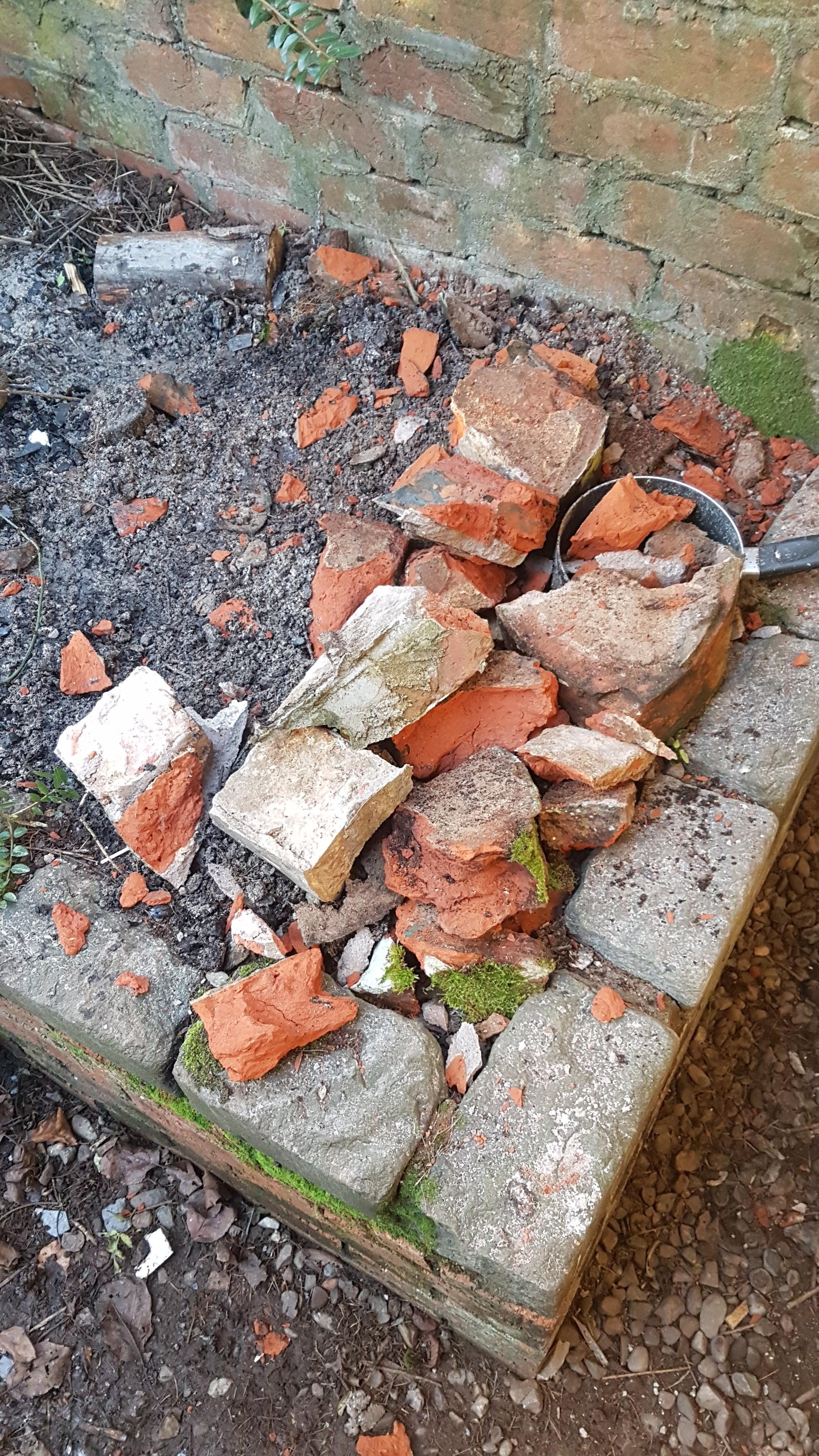 A pile of broken bricks.