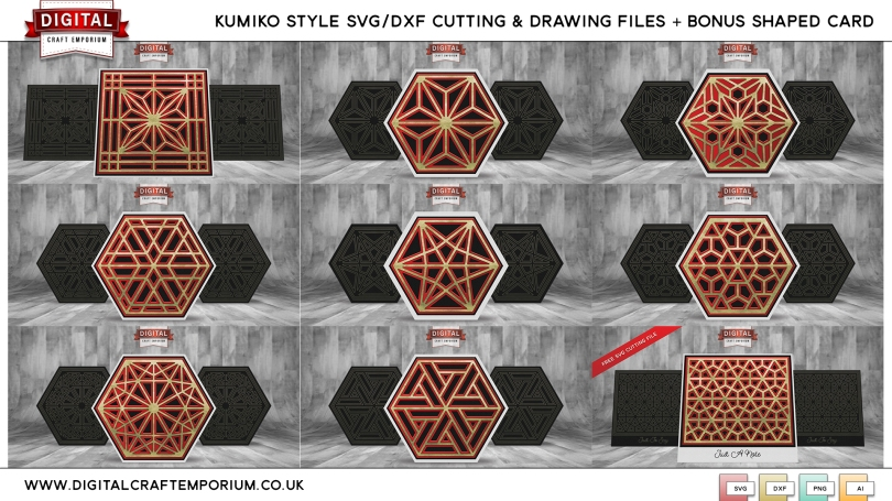 Kumiko Style Card Front SVG Cutting File Set