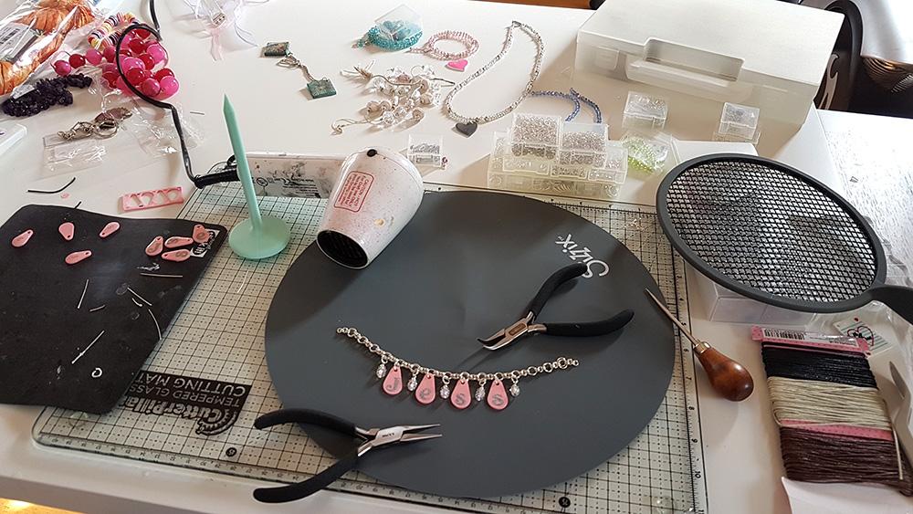 An untidy craft desk.