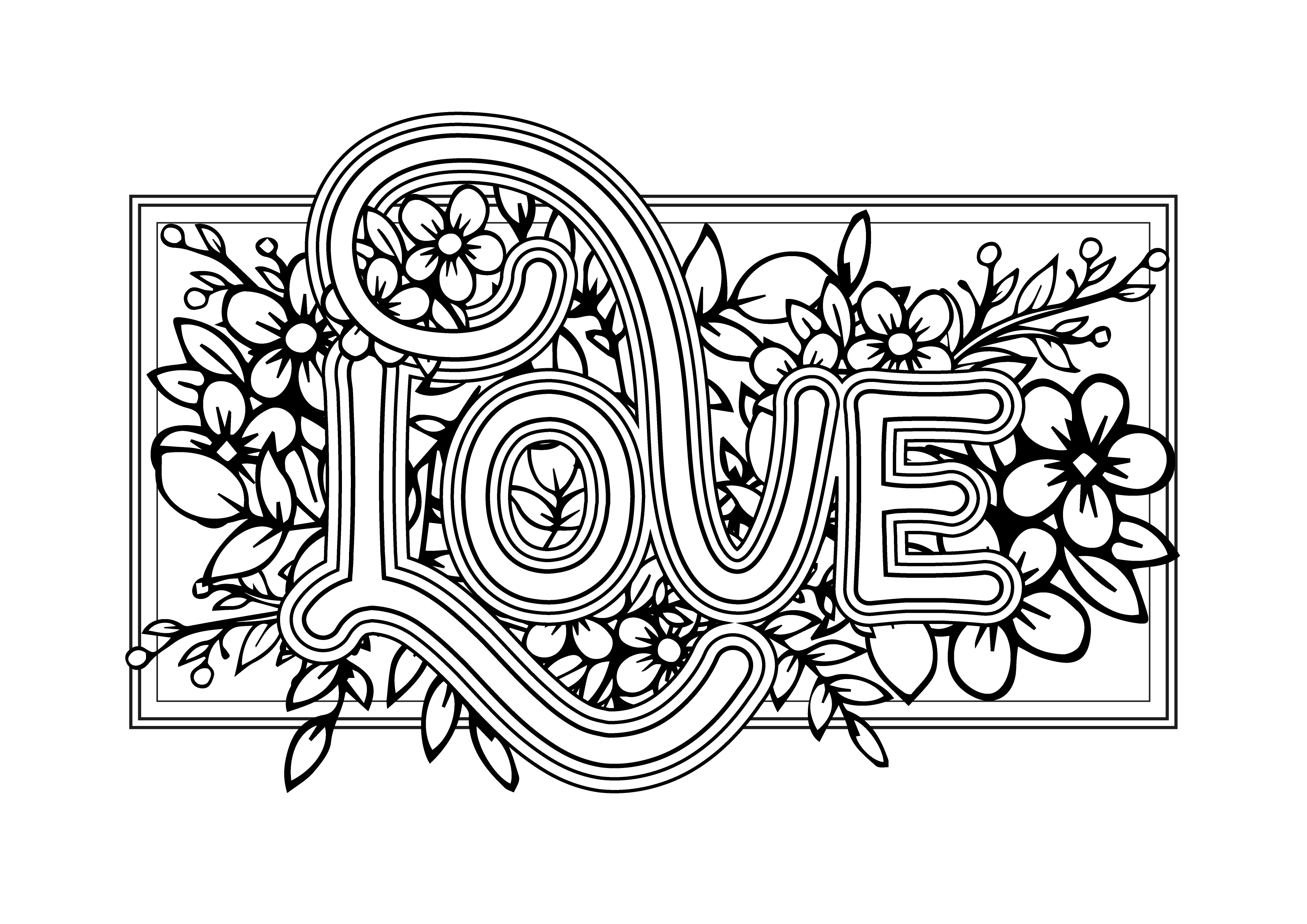 Free Colouring Sheet To Download Love-01