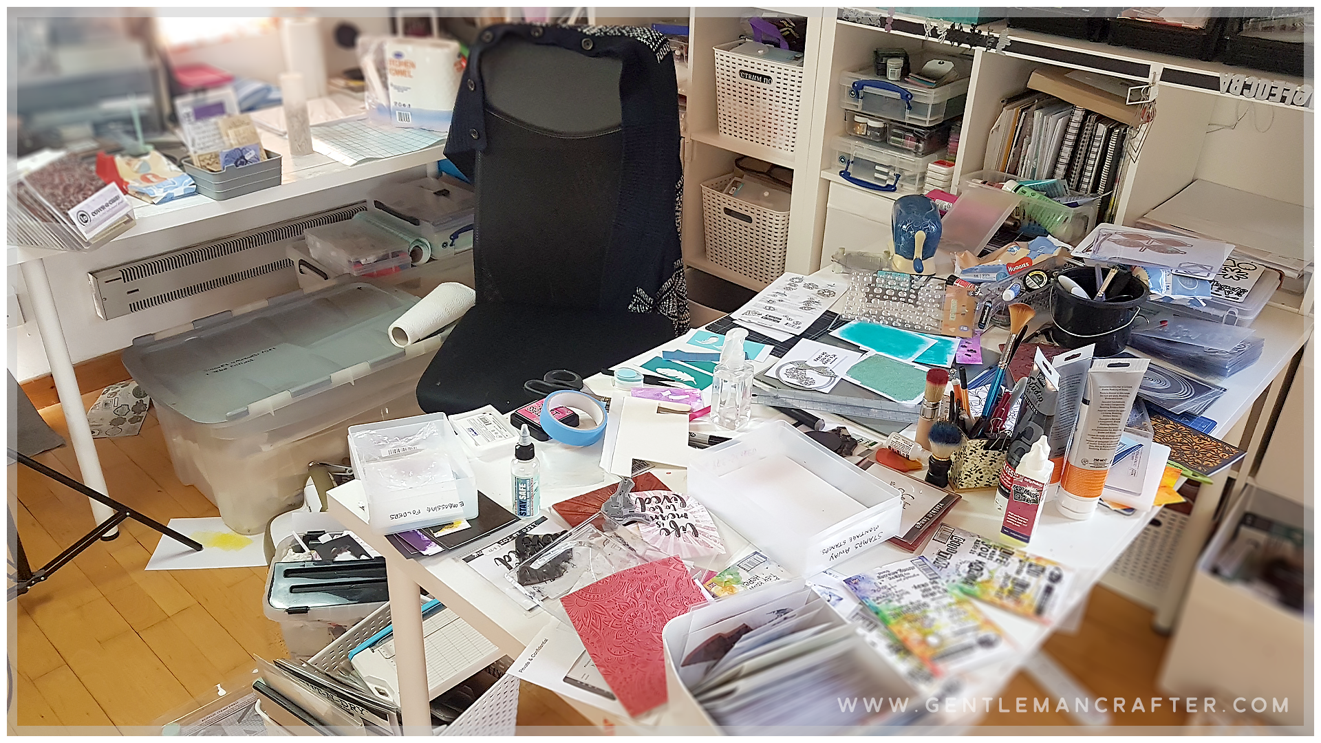 An image of a messy craft room.