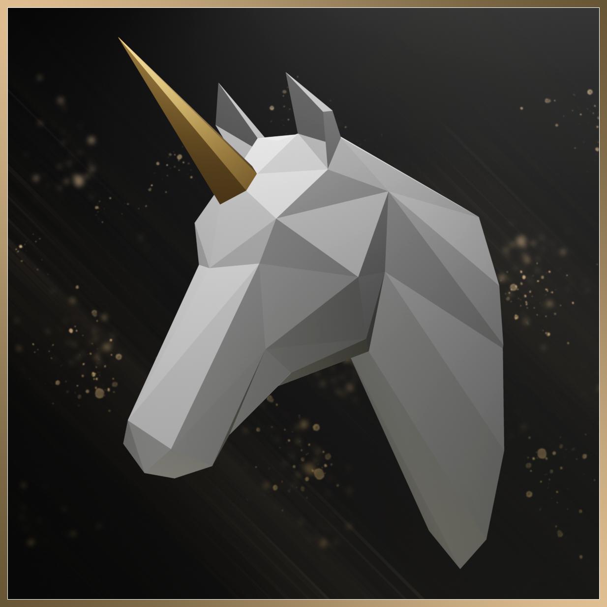 3D Unicorn Head Papercraft Project